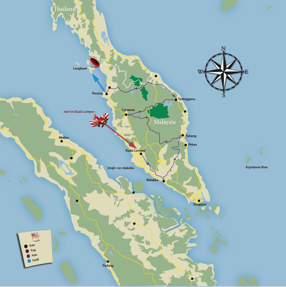 Die Tour durch Malaysia kompakt auf einer Karte zusammengefasst