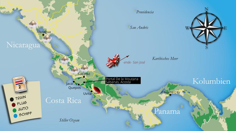 Die Tour im Detaildurch Costa Rica kompakt auf einer Karte zusammengefasst