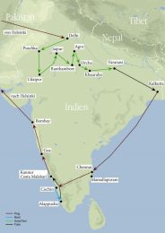 Die Tour durch Indien kompakt auf einer Karte zusammengefasst