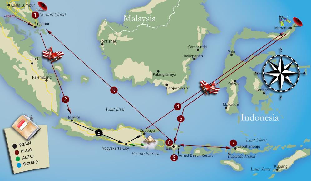 Die Tour durch Costa Rica kompakt auf einer Karte zusammengefasst