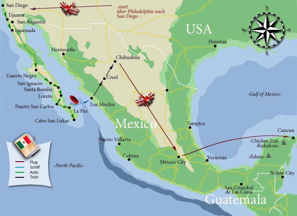 Die Tour durch Mexiko kompakt auf einer Karte zusammengefasst