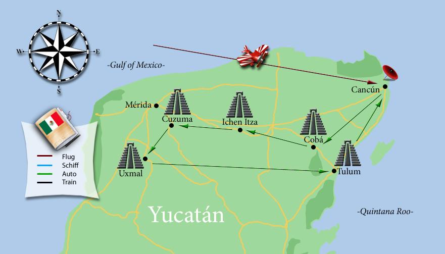 Die Tempeltour auf Yucatan, kompakt auf einer Karte zusammengefasst