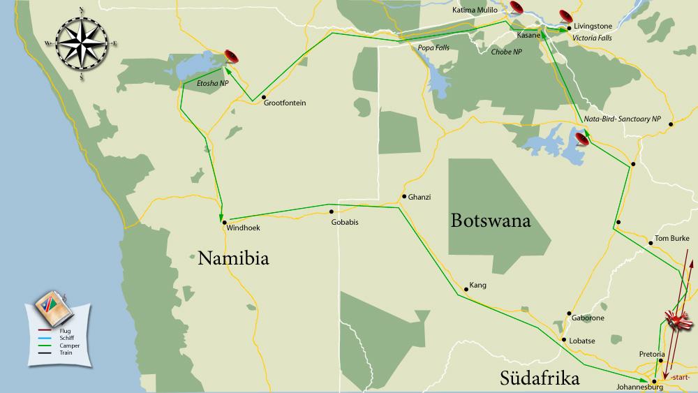 Unsere Reisetour durch Botswana und Namibia kompakt auf einer Karte zusammengefasst