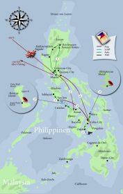 Das Insel Hopping auf den Philippinen kompakt auf einer Karte zusammengefasst