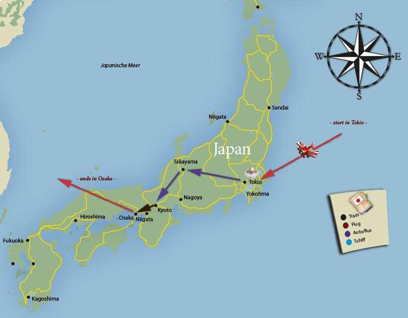 Die Tour durch Japan kompakt auf einer Karte zusammengefasst