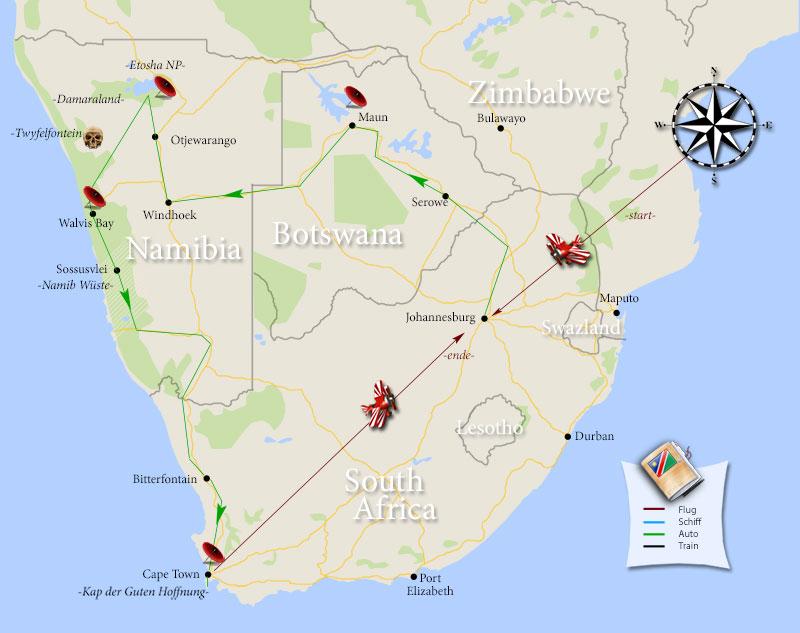 Die gesamte Camper-Route durch Südafrika und Namibia kompakt auf einer Karte zusammengefasst